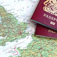 25637897 - british passport and map of europe
